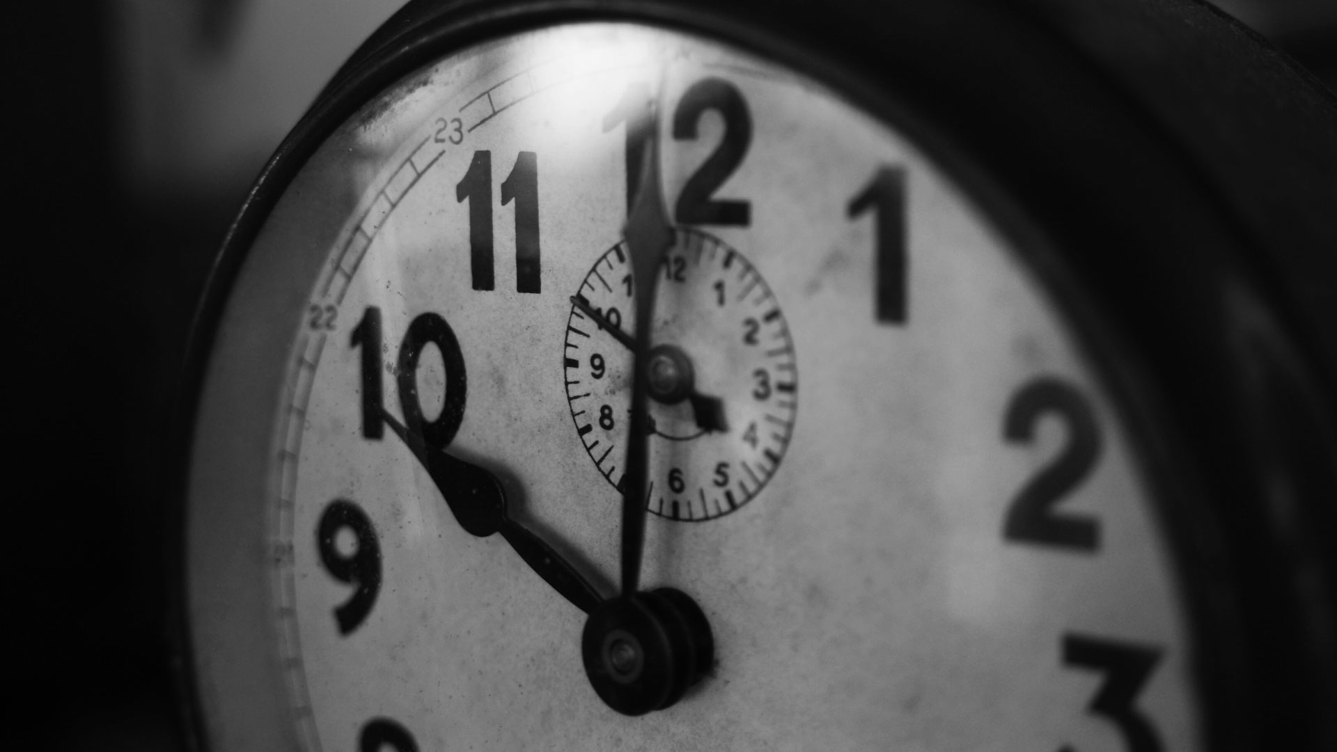 Black and White Picture of Clock